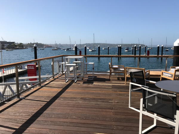 outside deck of marina