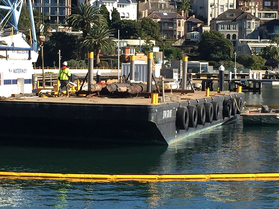 Starting to remove deteriorated piles from Elizabeth Bay Marina