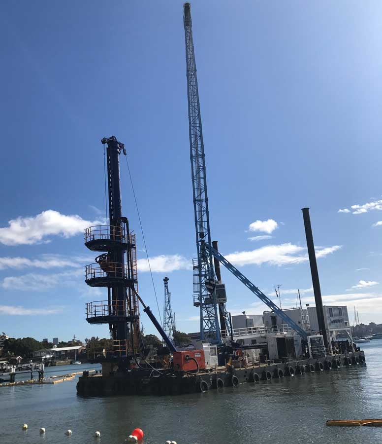 Large crane arrives for piling work in the deeper water of Elizabeth Bay
