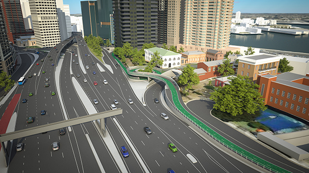 artist's impression of the proposed Sydney Harbour Bridge southern cycleway connection looking south