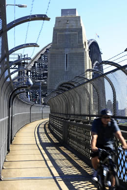 Cyclists on the cycleway of the Sydney Harbour Bridge