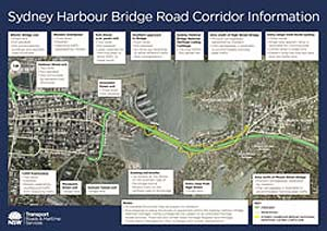 Sydney Harbour Bridge Road Corridor map (PDF, 1MB).