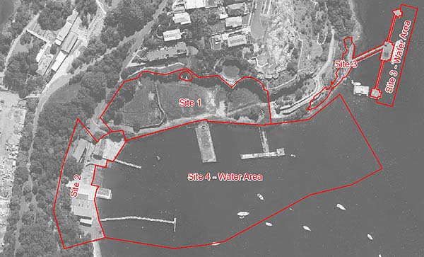 Aerial black and white photo of Berrys Bay with outlines of Agreement for Lease sites