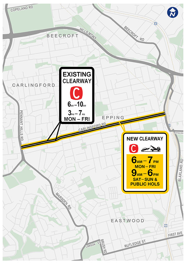 Location of clearways on Carlingford Road, Carlingford to Epping