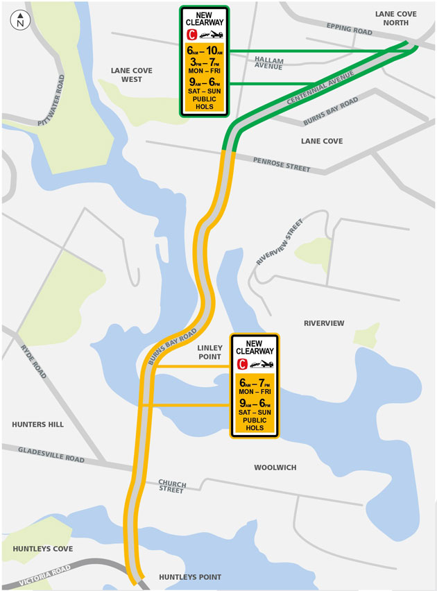Clearways on Centennial Avenue and Burns Bay Road