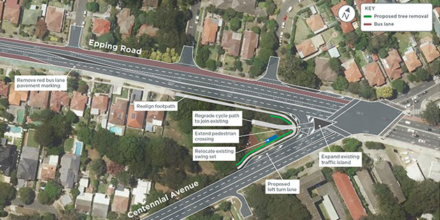 Intersection improvements on Centennial Avenue and Epping Road, Lane Cove
