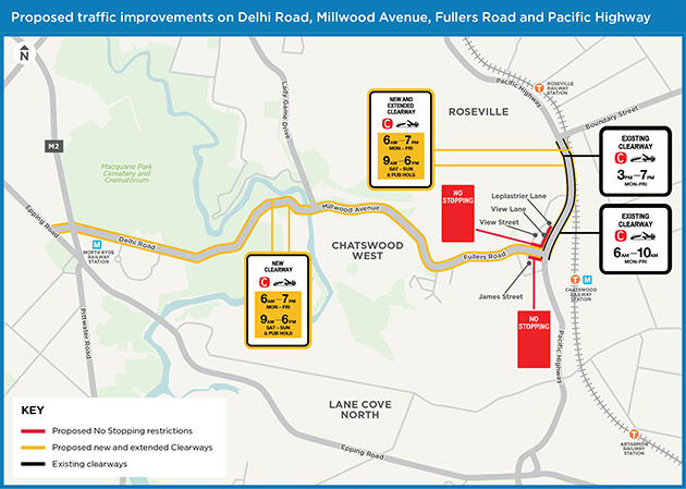 New and extended Clearways on Delhi Road, Millwood Avenue, Fullers Road & Pacific Highway