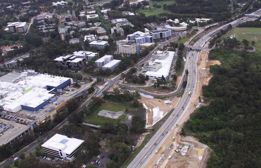 Construction of Macquarie Park ramps [Oct 2012]