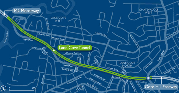 Path of the Lane Cove tunnel from the M2 motorway to the Gore Hill freeway