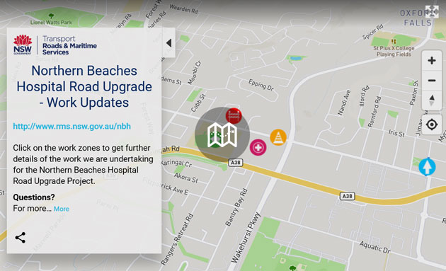 View the Northern Beaches Hospital road upgrade map full screen