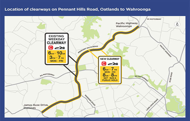 Pennant Hill Road clearways map