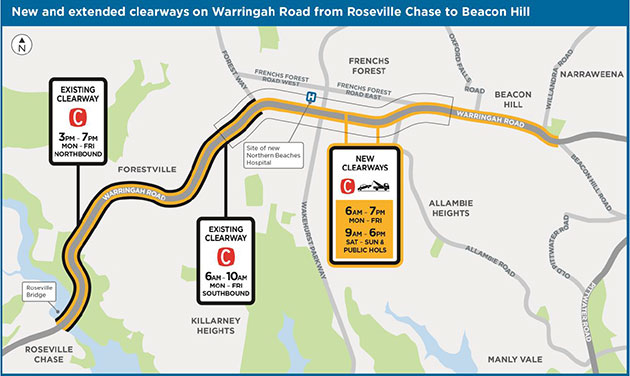 Map of Warringah Road new and extended clearways