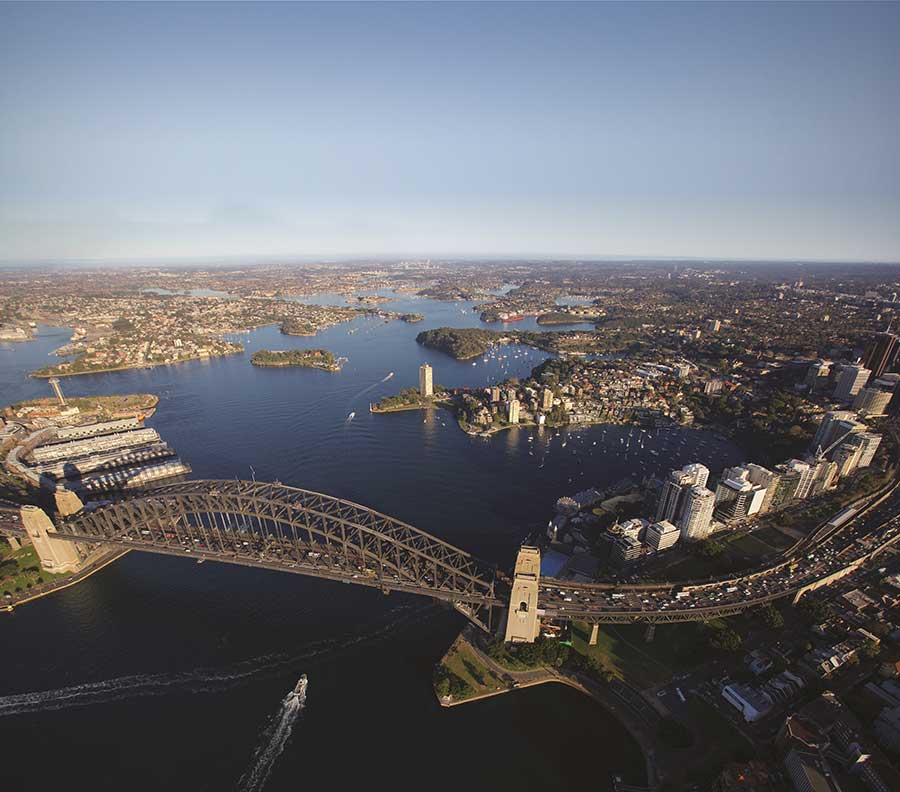Aerial view of the Sydney Harbour Bridge