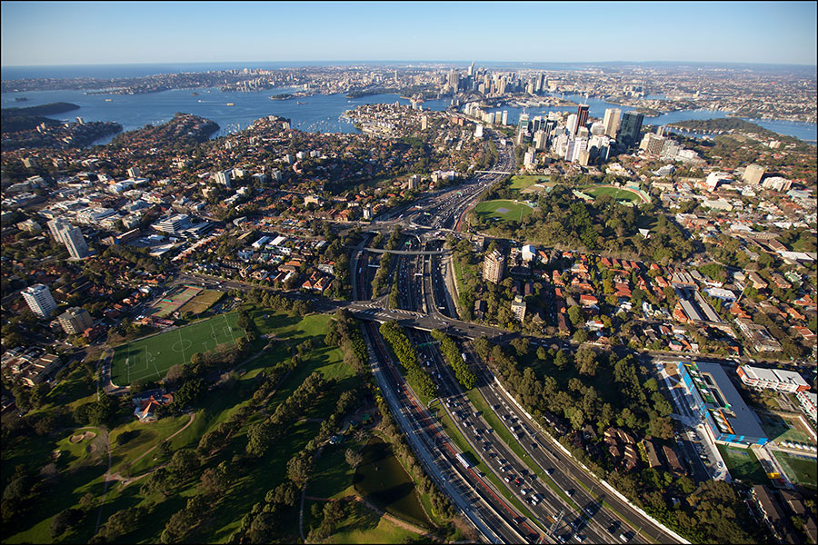 Aerial view of the Warringah Freeway, looking south towards the harbour and the city