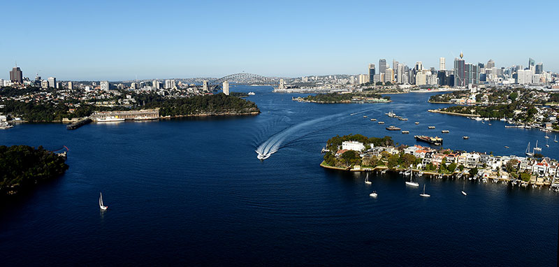 Aerial view of the harbour, looking from Birchgrove, east to the Harbour Bridge