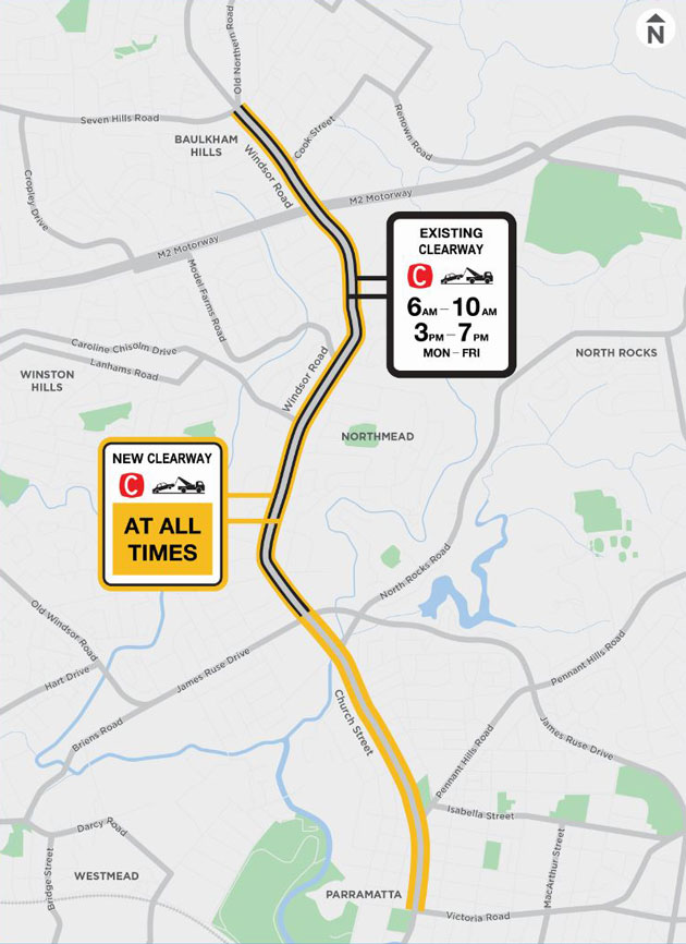 Clearways on Windsor Road and Church Street, Baulkham Hills to Parramatta