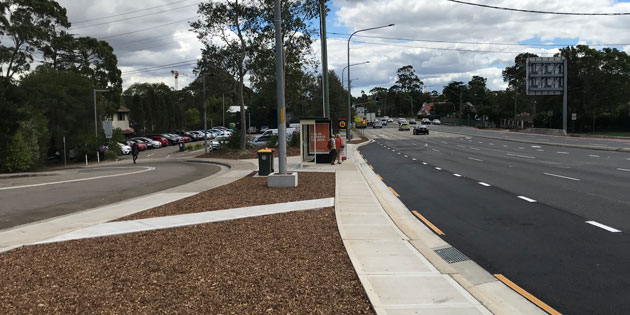 Completed bus bay extension at Windsor Road near Torrs Street, Baulkham Hills