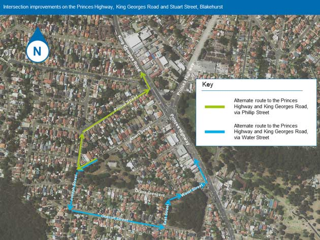 Alternate route map for intersection improvements at the Princes Highway, King Georges Road and Stuart Street, Blakehurst