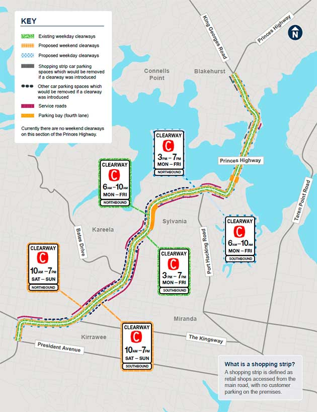 Map showing the location of the new and extended clearways along the Princes Highway