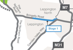 View or download the Bringelly Road upgrade Stage 1 map (PDF, 192Kb)