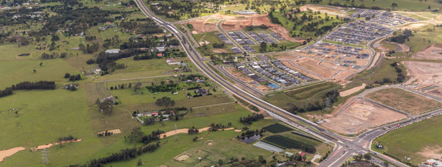 Aerial view of Camden Valley Way Stage 2. Copyright: www.skyviewaeerial.com.au