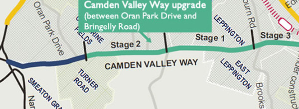 The three stages of the Camden Valley Way upgrade between Oran Park Drive and Bringelly Road: Stage 1 - Ingleburn Rd to Raby Rd, Stage 2 - Raby Rd to Oran Park Drive, Stage 3 - Oran Park Drive to Bringelly Road