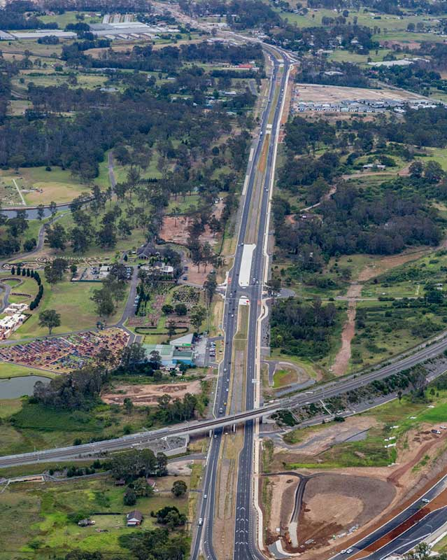 Upgraded section south of Bringelly Road / Cowpasture Road Intersection