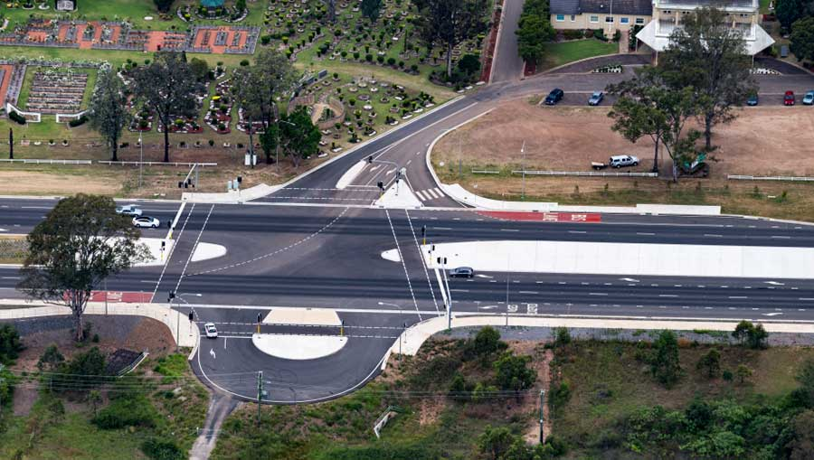 Upgraded traffic light intersection at Forest Lawn Memorial Gardens