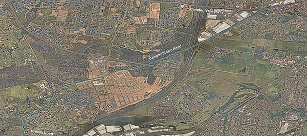 Aerial view of Campbeltown Road between Hume Highway/Camden Valley Way, Casula and Brooks Road, Denham Court
