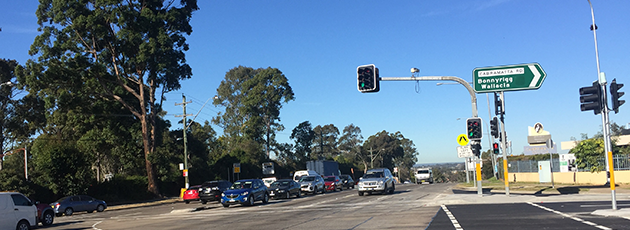 Completed intersection upgrade at Cumberland Highway and Cabramatta Road in Cabramatta