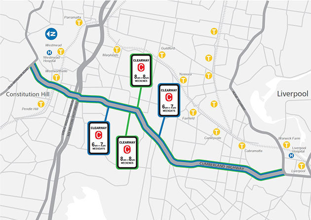 Project map of new clearways