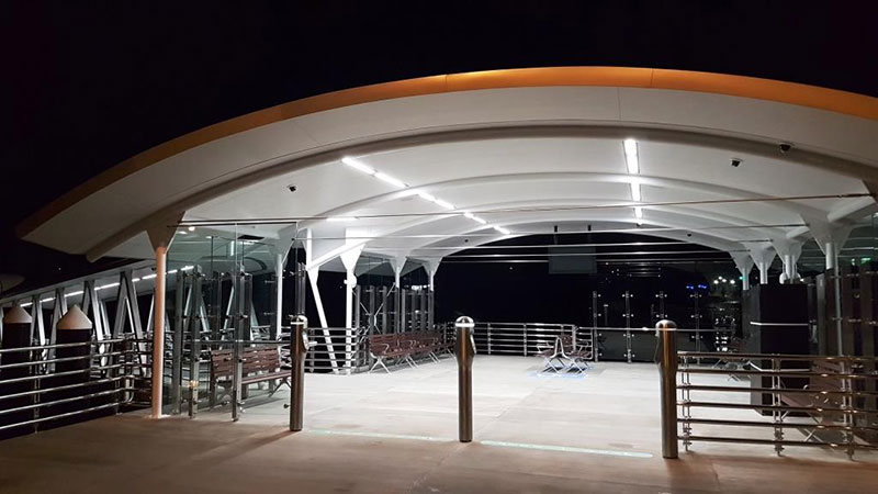View of the passenger waiting area of the new Meadowbank Wharf, at night.
