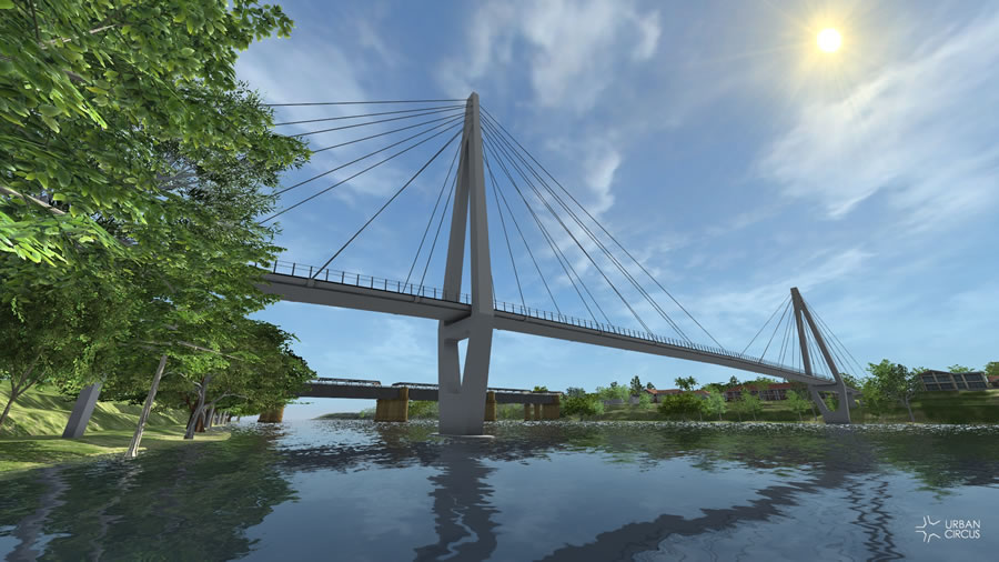 Option 2 - Roads and Maritime Services cable stayed bridge looking east [Aug 2012]