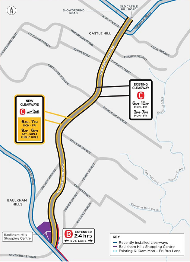 Map of clearways and new 24 hour bus lane on Old Northern Road