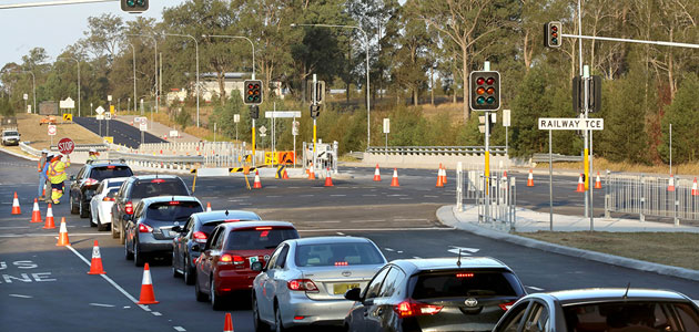Lights about to be switched on at intersection of Schofields Road and Railway Terrace, Schofields on 18 February 2018