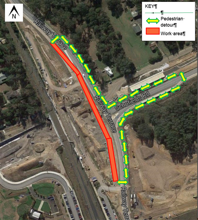 Map of temporary pedestrian walkway