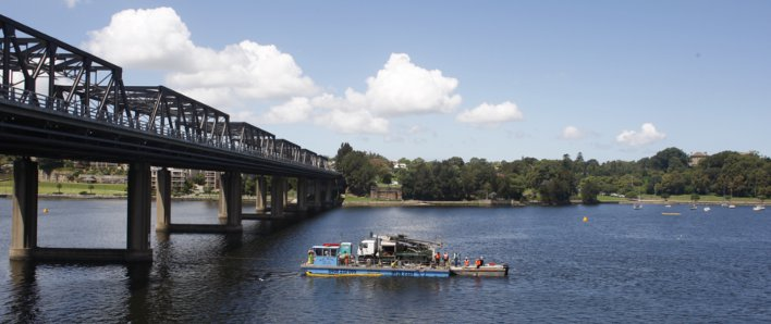 View across the Parramatta River from the Bay Walk, with Iron Cove Bridge on the left