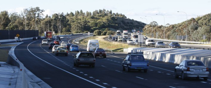 The M5 after widening works completed, showing traffic in three lanes in both directions