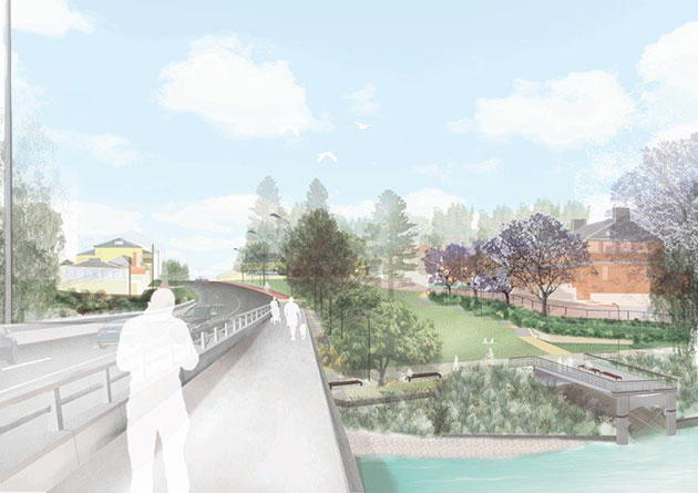 Artist's impression looking south from bridge