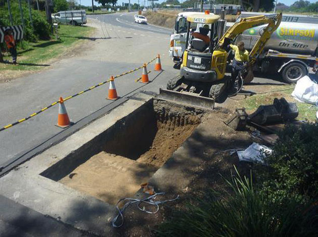 Test pit excavation outside the entrance to Macquarie Park