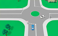 Stylised cars on a roundabout