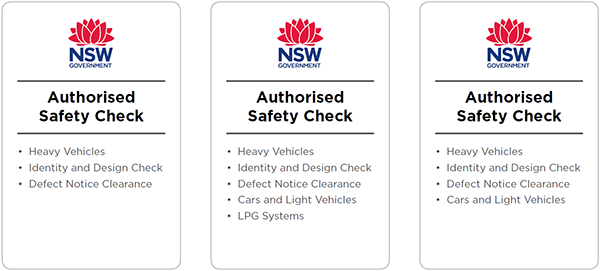 Examples of AIS signage. The signs show the Roads and Maritime logo on a white background, with the text 'Authorised Safety Check' and a list of the the types of inspections the station can perform.