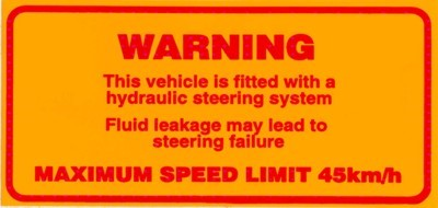 Example of a hydraulic steering warning sign