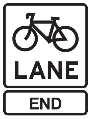 Bicycle lane ends sign