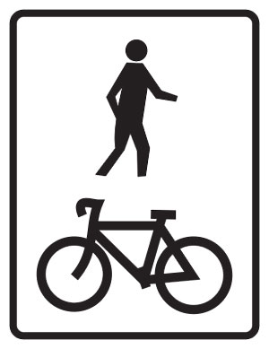 Bicycle lane shared sign