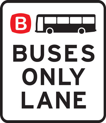 Bus only lane sign