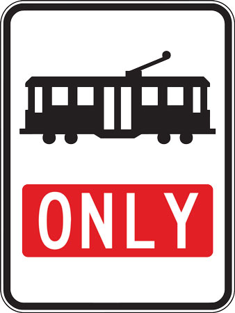Trams only lane sign