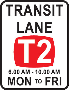 T2 Transit lane sign with applicable times
