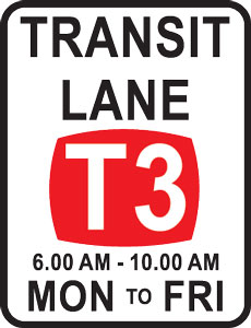 T3 Transit lane sign with applicable times