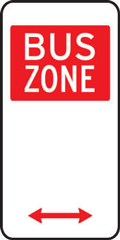 Bus zone parking sign